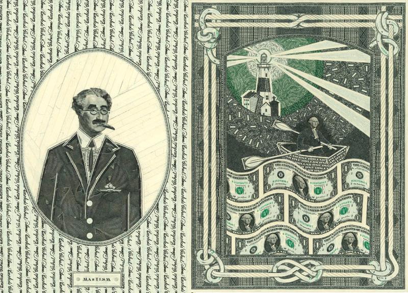tableau avec billets dollars