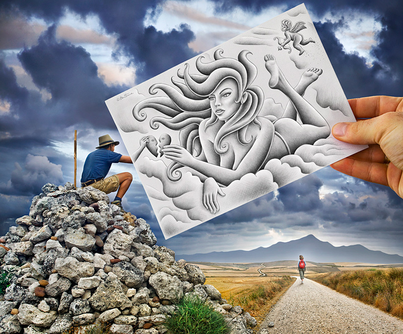 photo dessin illusion