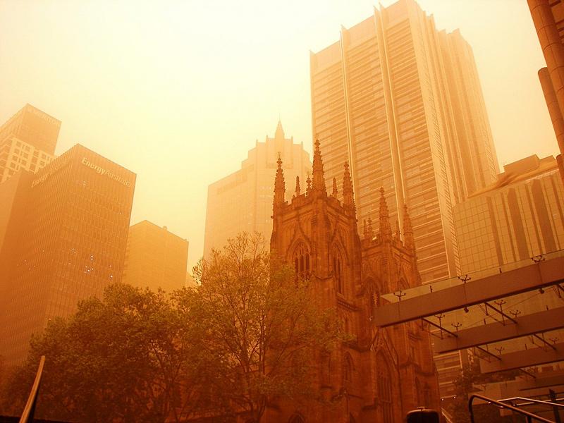 tempête de sable rouge à sydney