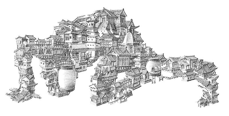 Dessin de formes humaines constituées d'habitats traditionnels japonais