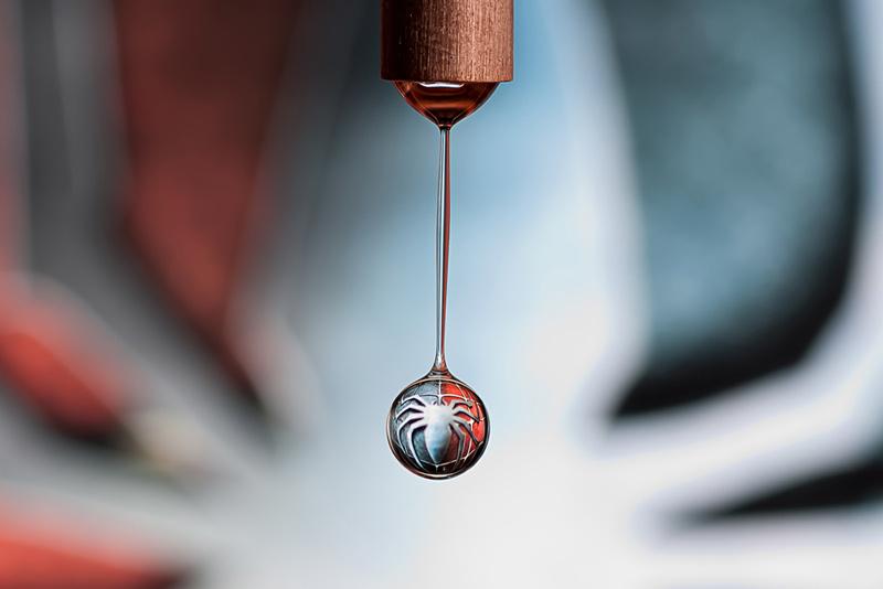 réfraction sur goutte d'eau