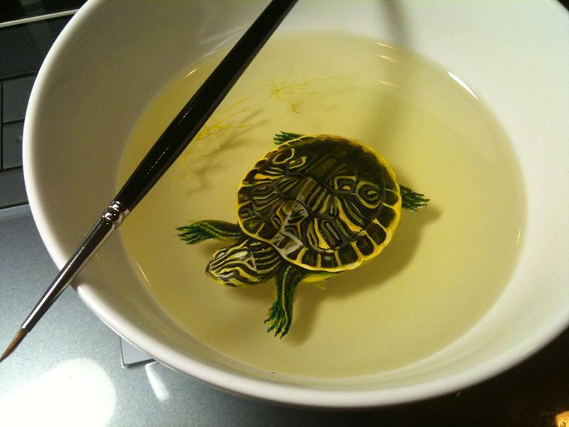 peinture et sculpture réaliste de tortue