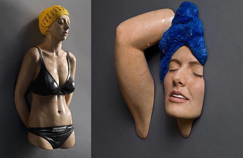 sculpture de nageuse réaliste