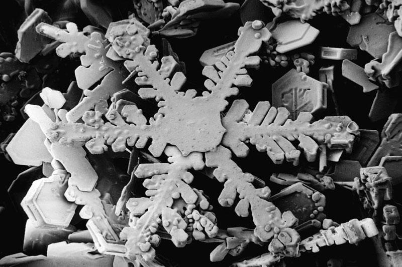 structure d'un flocon de neige vu en gros plan