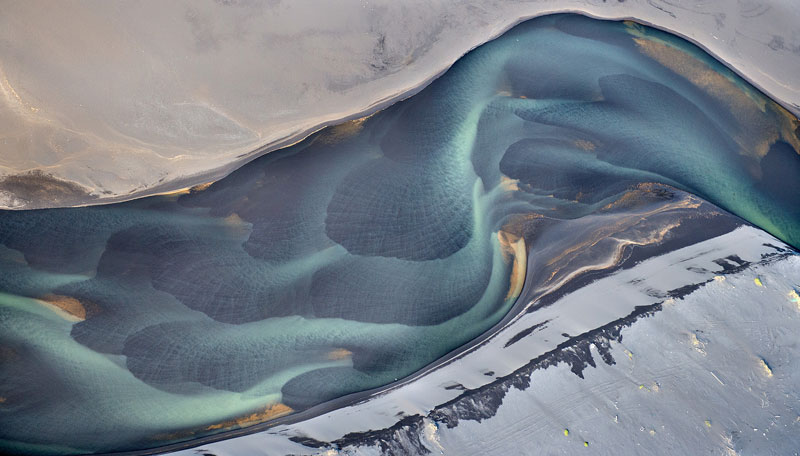 paysage d'Islande vu du ciel