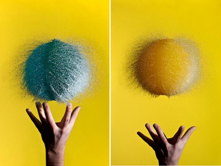 photos à haute vitesse d'éclatements de ballons remplis d'eau