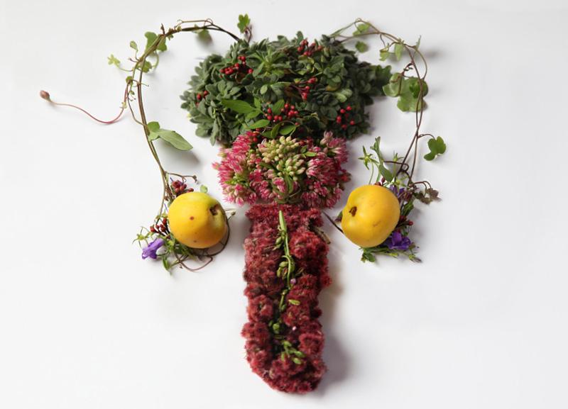 reproduction d'organe humain avec des fleurs