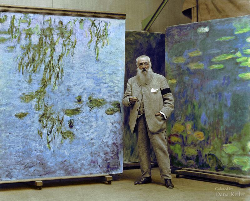 photo historique colorisée de Claude Monet en 1923