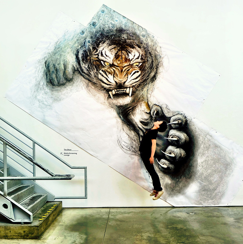 Peinture murale d'animal en 3D