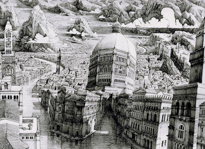 paysages fictifs urbains dessinés à l'encre par Ben Sack