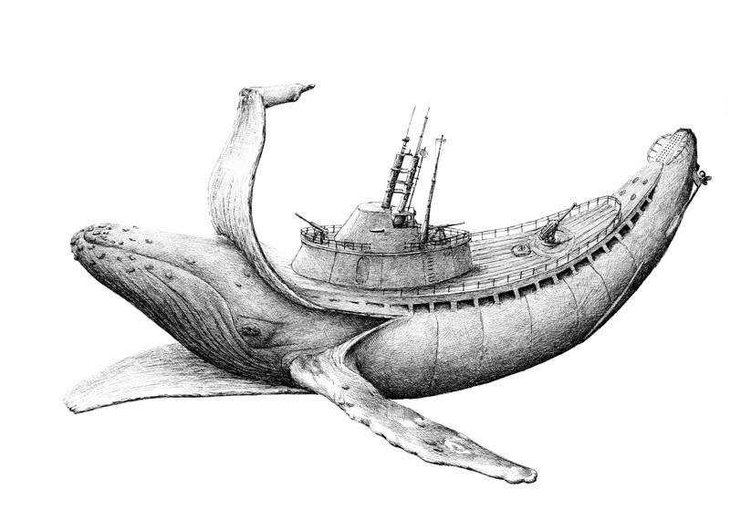 illustration qui mélange animaux et objets