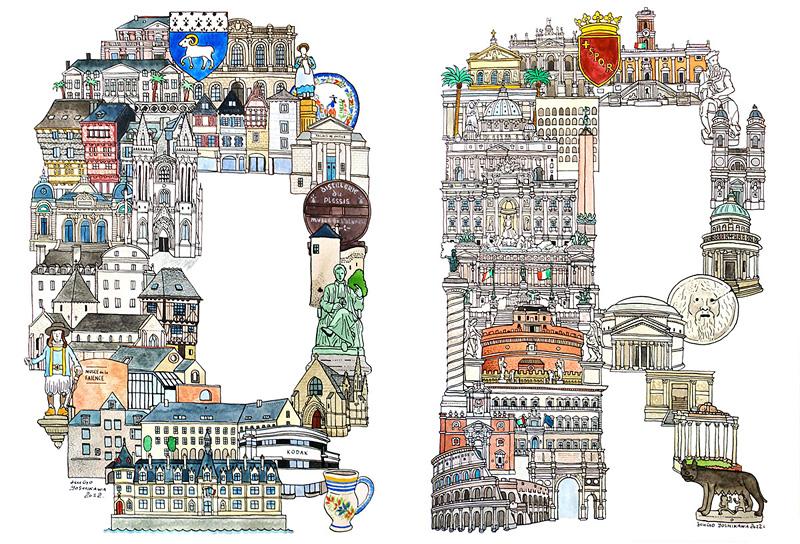 Villes européennes sous forme d'alphabet