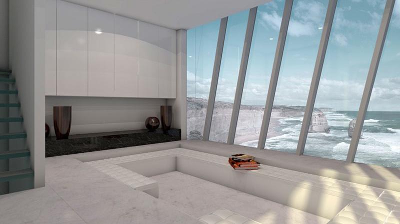 Maison accrochée à une falaise au-dessus de l'océan