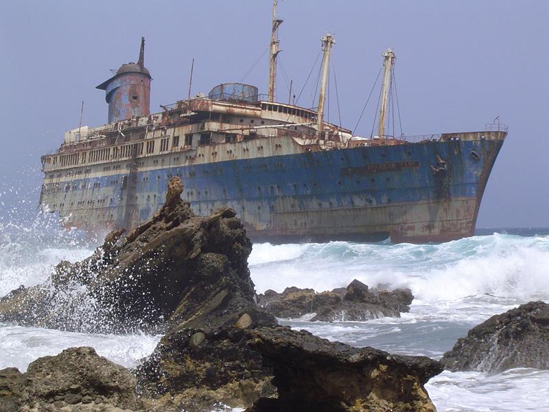 Paquebot échoué à Fuerteventura dans les îles Canaries