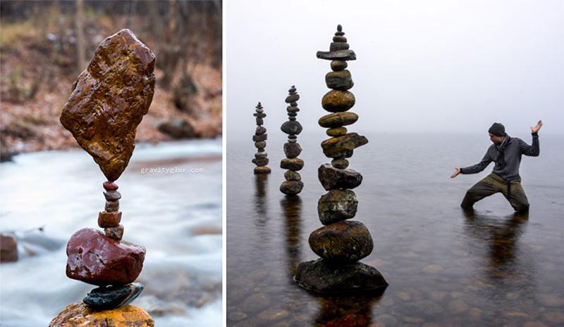 assemblages de pierres en équilibre