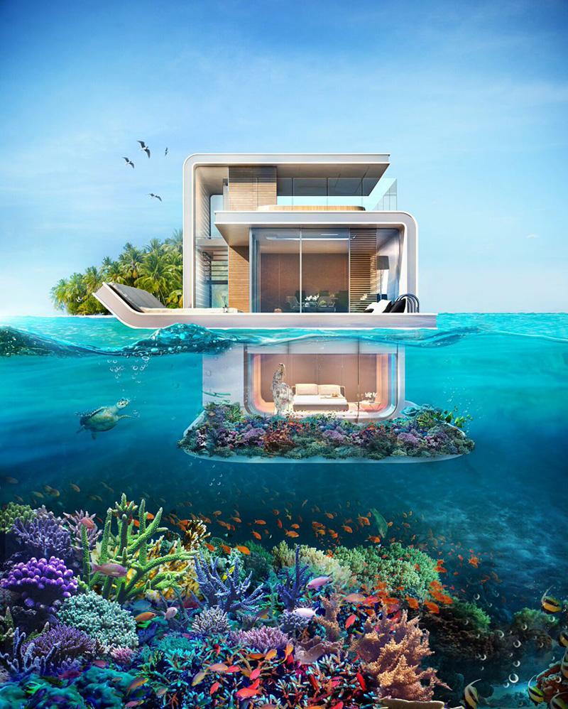 La maison flottante avec chambre sous-marine