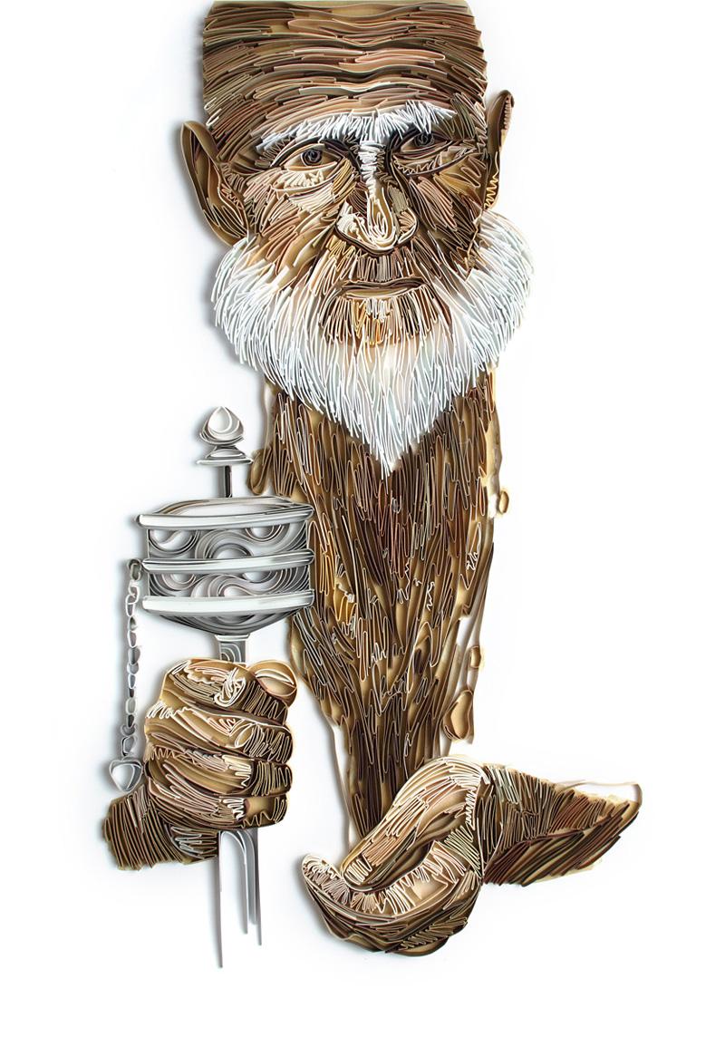 Illustrations et sculptures avec des bandes de papier par Ioulia Brodskaya