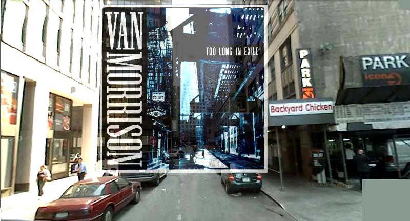 Juxtaposition d'une pochette de disque sur son lieu réel à New-York