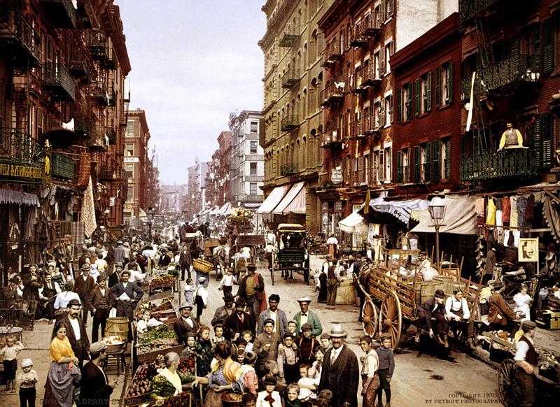 Mulberry Street, rue de New York en 1900
