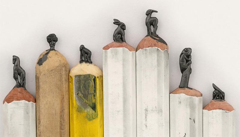 Sculptures miniatures sur mines de crayons par Diem Chau