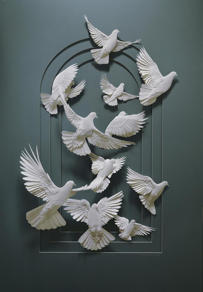 Sculptures en papier de Calvin Nicholls