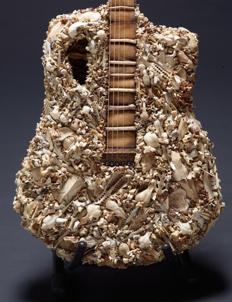 Guitare réalisée avec divers os agglomérés
