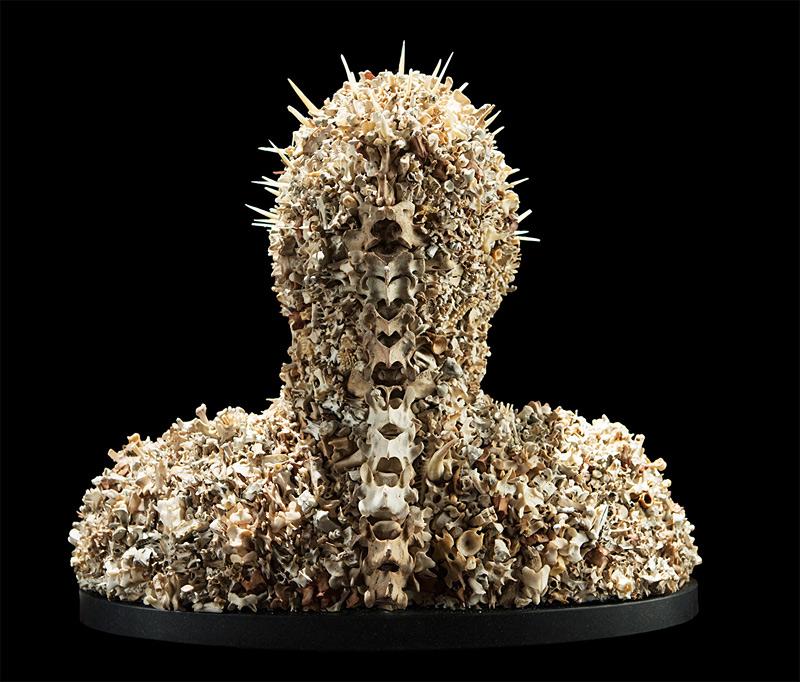 Buste avec des milliers d'os de lapin