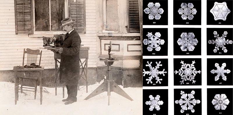 photo ancienne de flocon de neige en gros plan
