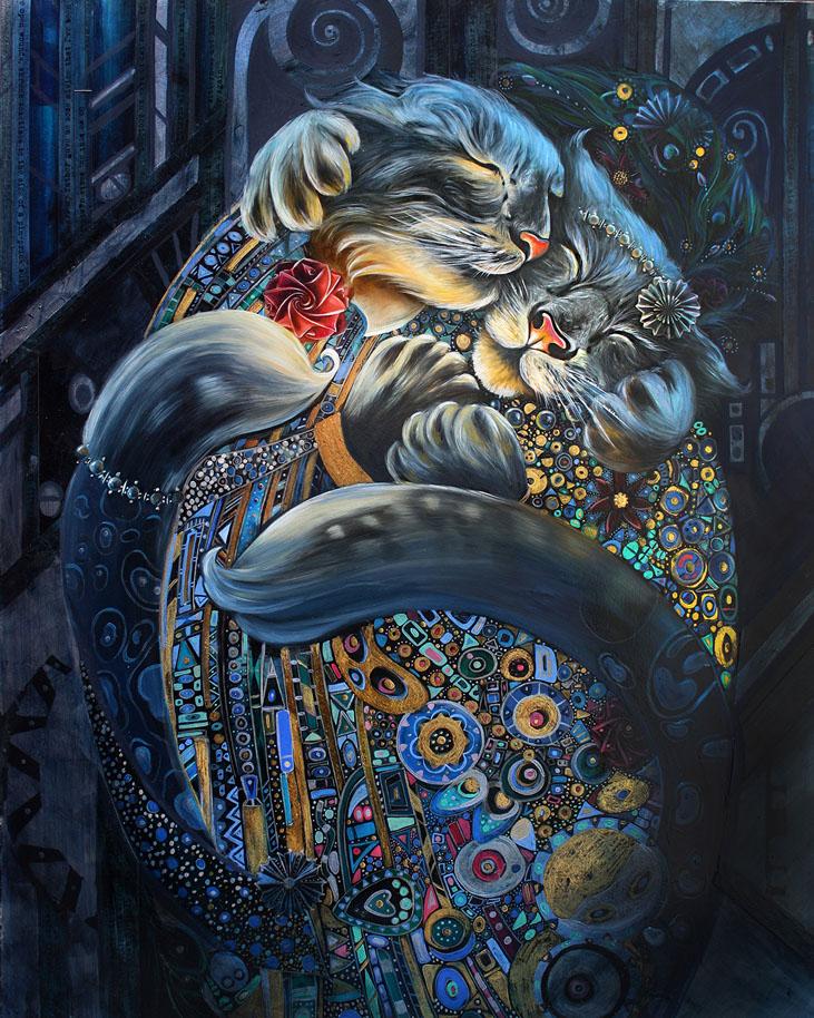 Portrait de personnage historique célèbre sous l'apparence de chat et de chien