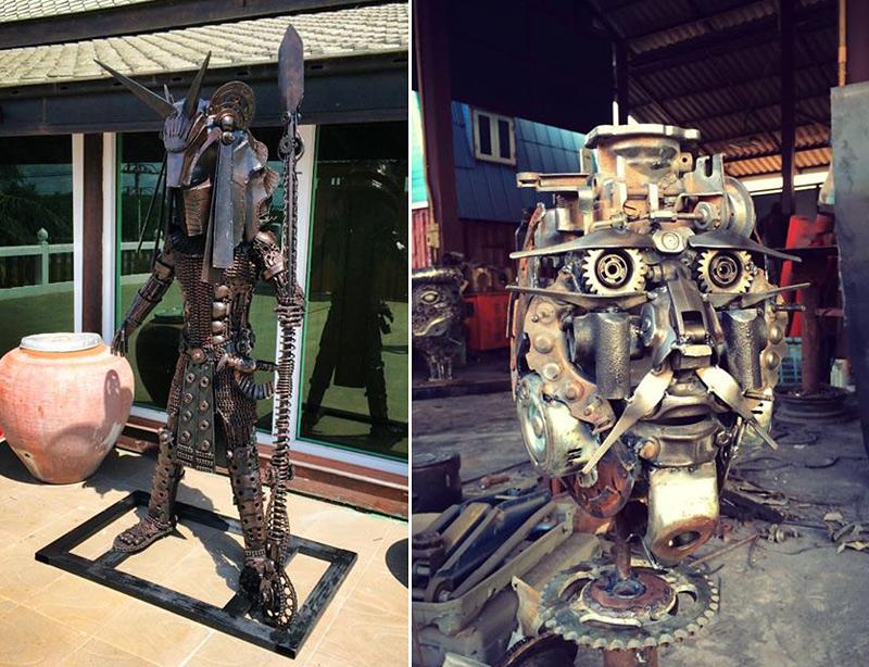 Sculpture pop avec des matériaux de récupération en métal par Ban Hun Lek