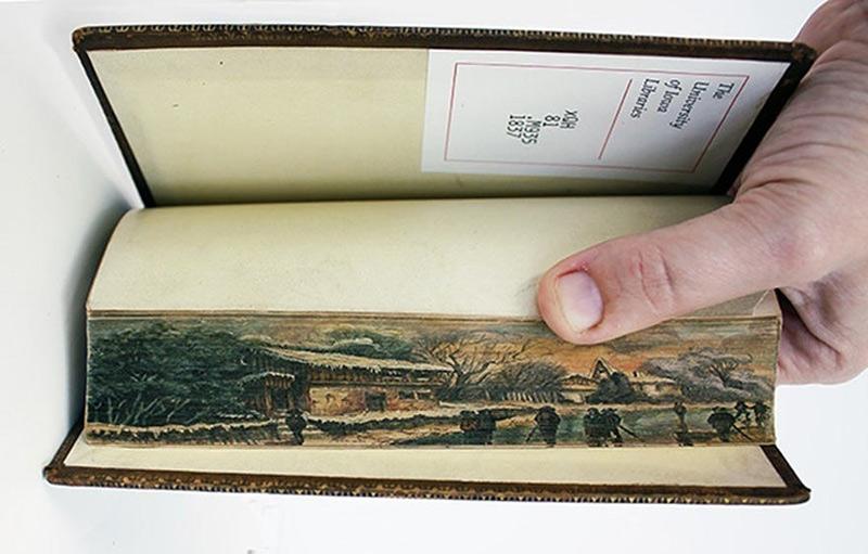peinture sur tranche de livre