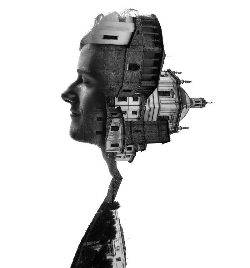 portrait de profil d'habitant de Milan et architecture