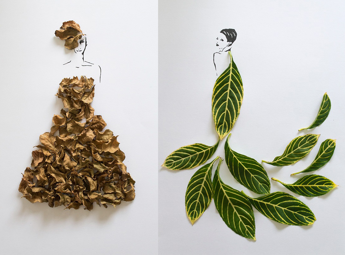mode avec robe de feuille