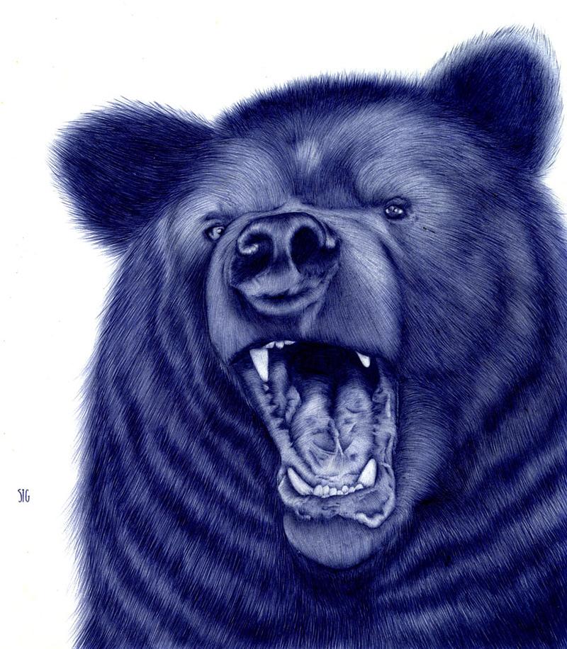 dessin d'animal au stylo bille
