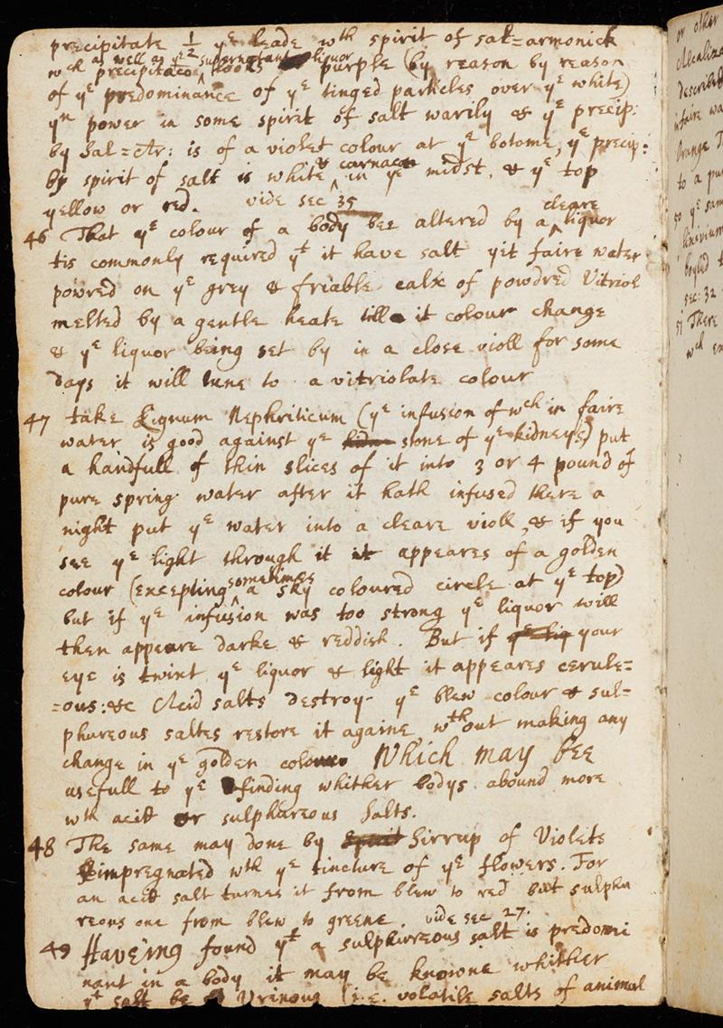 manuscrit d'Isaac Newton