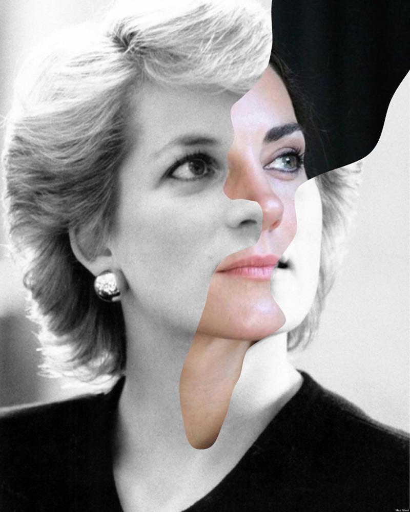 portrait fusionné de visages de célébrités d'époque différente