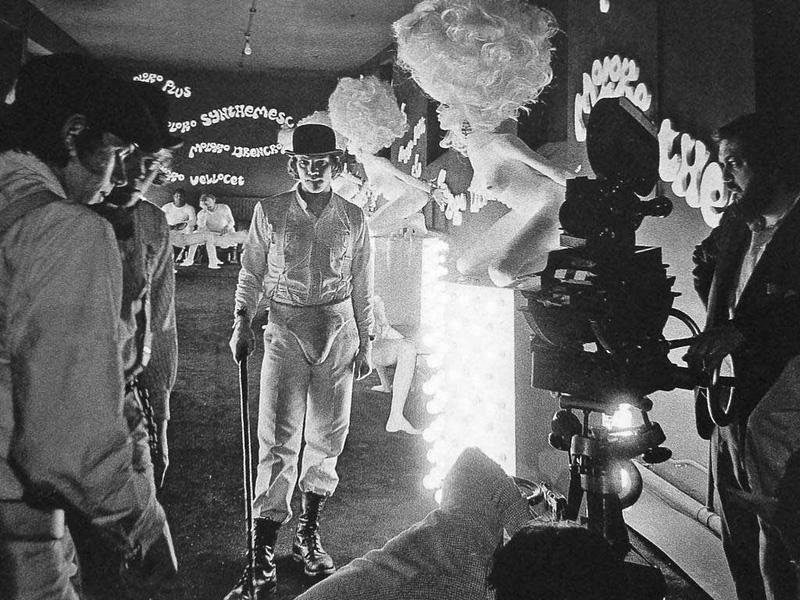 Malcolm McDowell et Stanley Kubrick sur le tournage d'Orange Mécanique