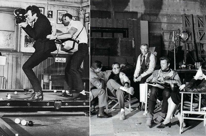 Sergio Leone, Lee Van Cleef et Clint Eastwood dans le film Et pour quelques dollars de plus