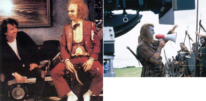Tim Burton et Michael Keaton dans Beetlejuice et Mel Gibson dans Braveheart