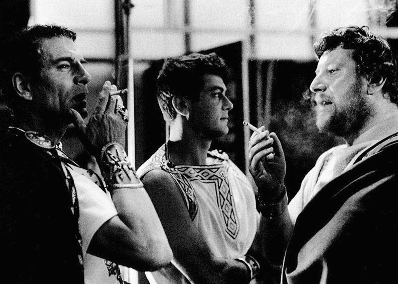 Laurence Olivier, Tony Curtis et Peter Ustinov sur le tournage de Spartacus