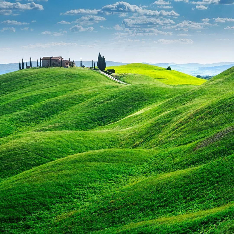 Collines aux environs d'Asciano, commune de Toscane