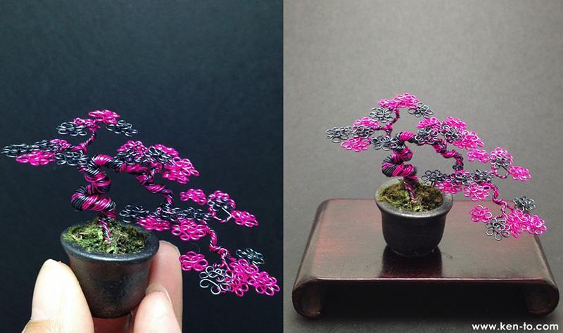 bonsaï miniature en fil de fer par Ken To