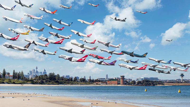 Image composite du trafic aéroportuaire à travers le monde