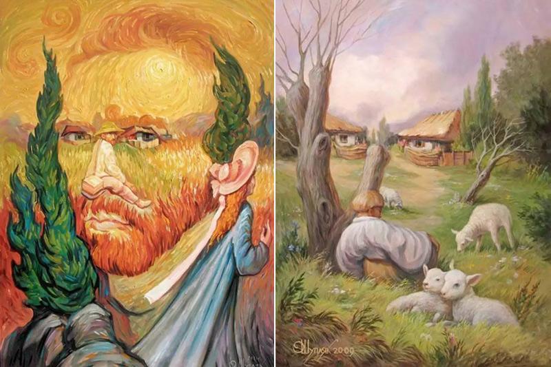 Peintures à illusion d'optique d'Oleg Shuplyak