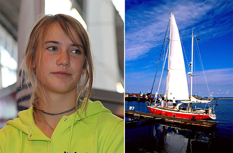 Laura Dekker et son bateau Guppy