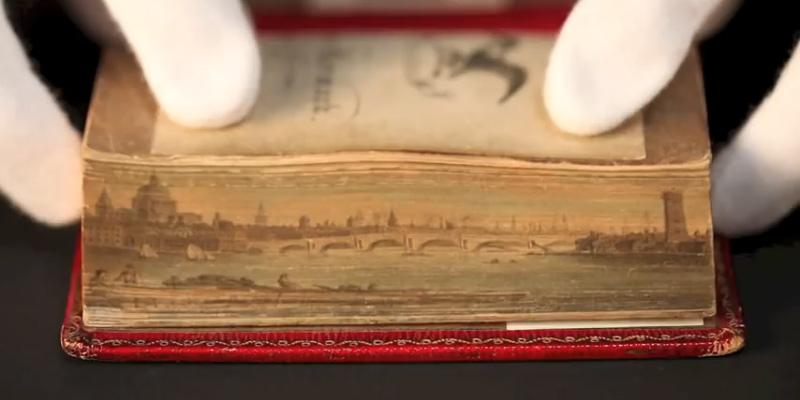 Peinture cachée sur la tranche d'un livre ancien