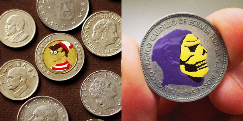 pièce de monnaie peinte