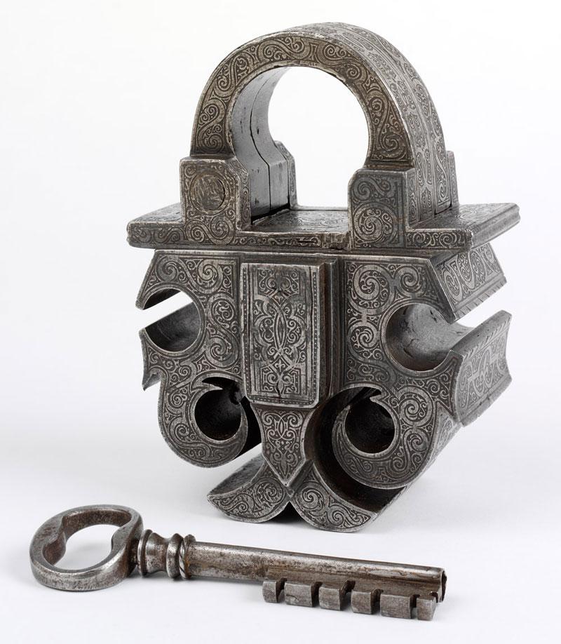 Cadenas et clé en acier, 1580, Sud de l'Allemagne