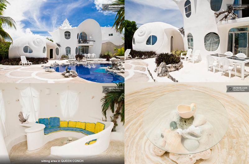 maisons en forme de coquillage au Mexique