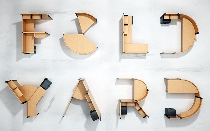 bureau en forme de lettre